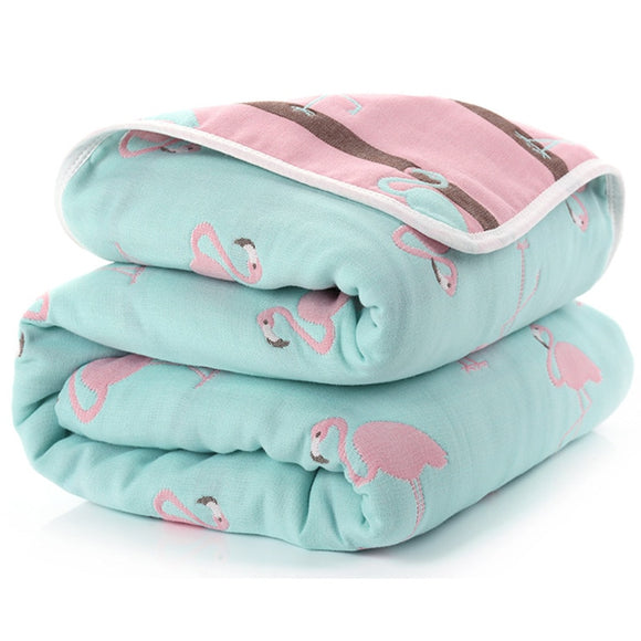 Six Layer Flamingo Cotton Blanket