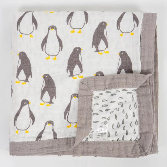 Four Layer Organic Cotton Penguin Blanket