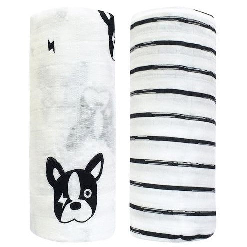 2 Pack Extra Large Monochrome Bamboo Muslins