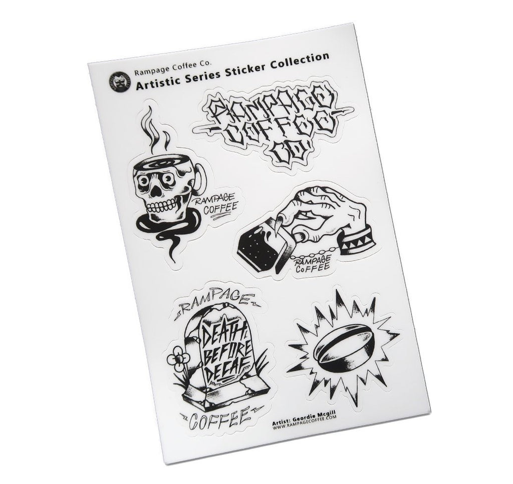Artistic Series Sticker Sheet | Gordie McGill Stickers Rampage Coffee Co.