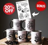 Colour Morphing Mugs - Artistic Series Mugs Rampage Coffee Co. Bundle All 5 (20% discount + Sticker Sheet)