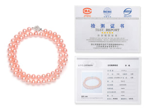 Necklace/Bracelet Set 7.0-8.0 mm Pink Freshwater Pearls