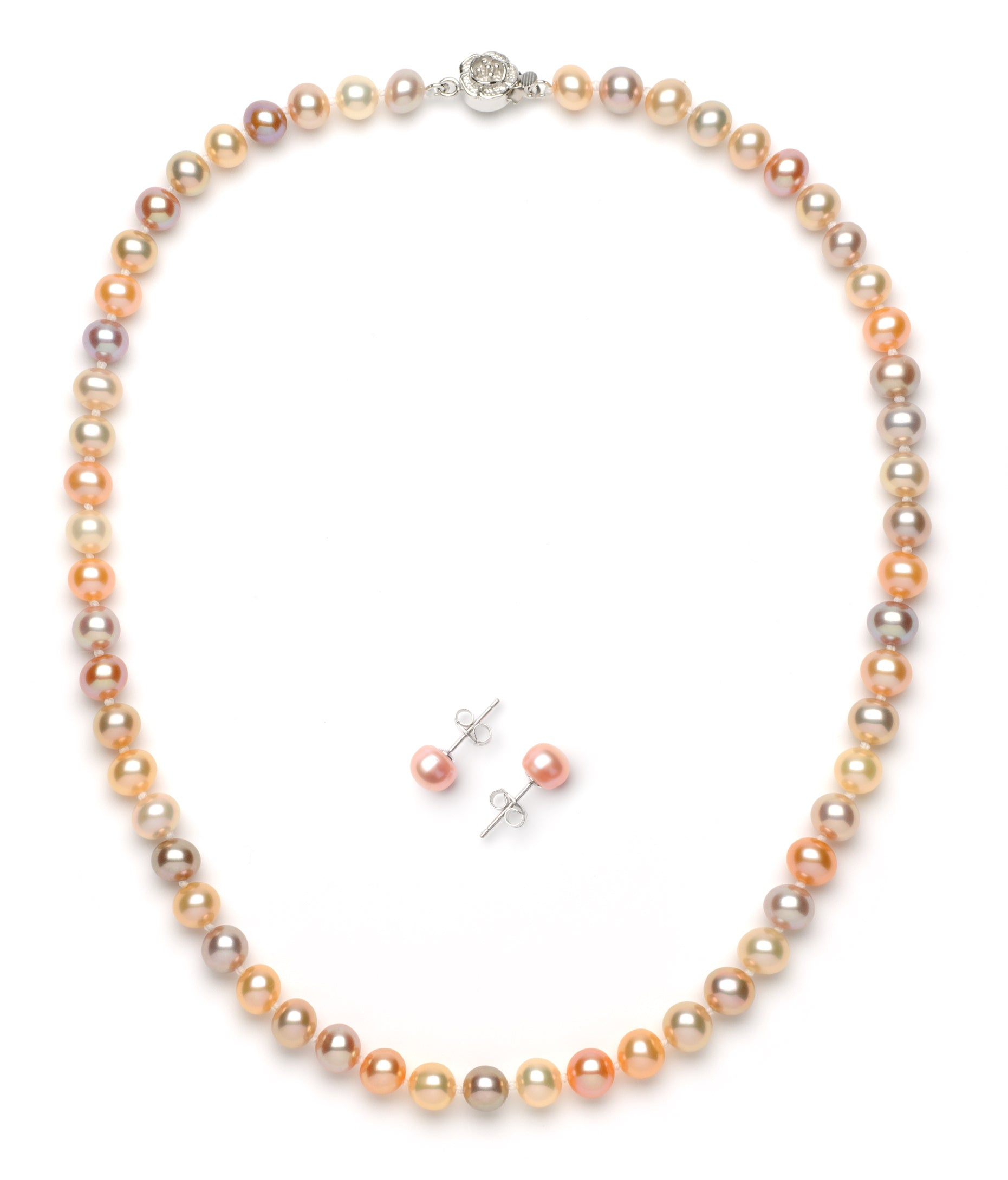 Necklace/Earrings Set 6.0-7.0 mm Multi-color Freshwater Pearls