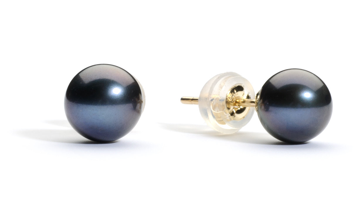 6.0-7.0 mm AAA Black Freshwater Pearl Stud Earrings