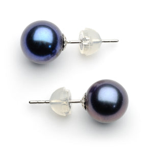 8.0-9.0 mm AAA Black Freshwater Pearl Stud Earrings