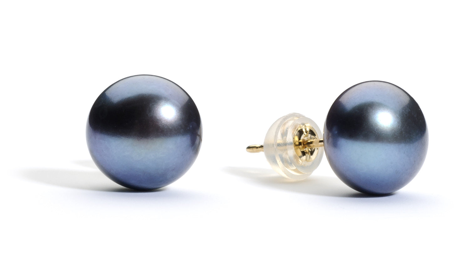9 mm AAA Black Freshwater Pearl Stud Earrings