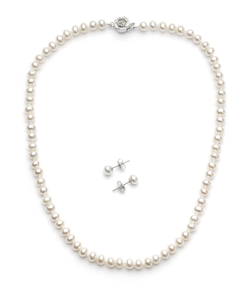 Necklace/Earrings Set 5.0-6.0 mm White Freshwater Pearls