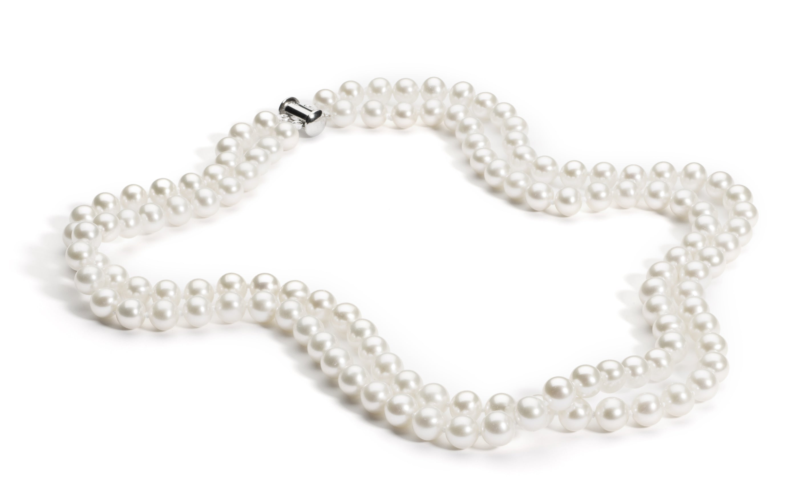 Double Strand Necklace/Bracelet Set 7.0-8.0 mm White Freshwater Pearls