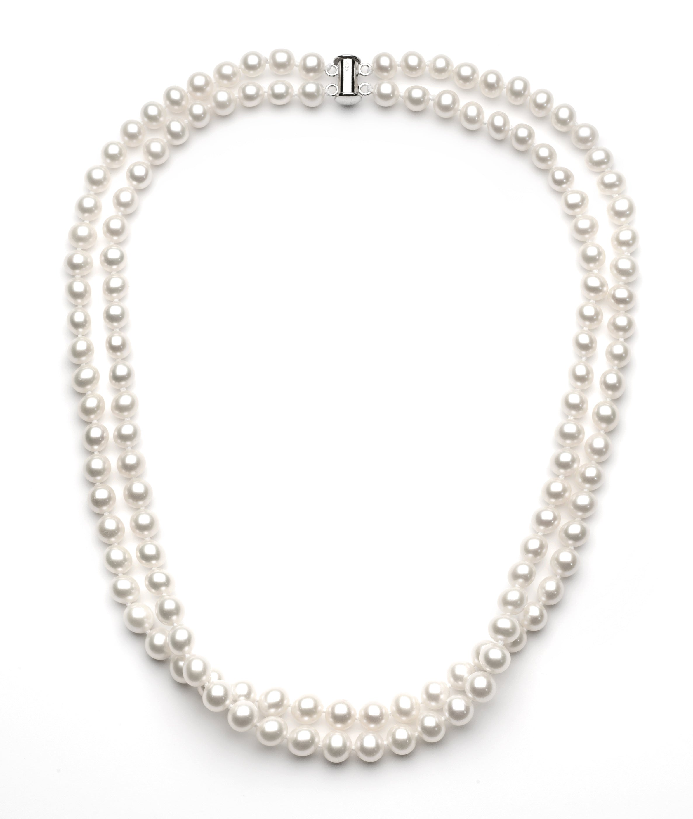 7.0-8.0 mm Double Strand White Freshwater Pearl Necklace