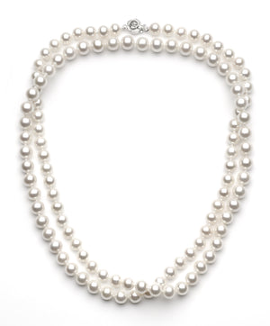 8.0-9.0 mm 35 Inch White Freshwater Pearl Necklace