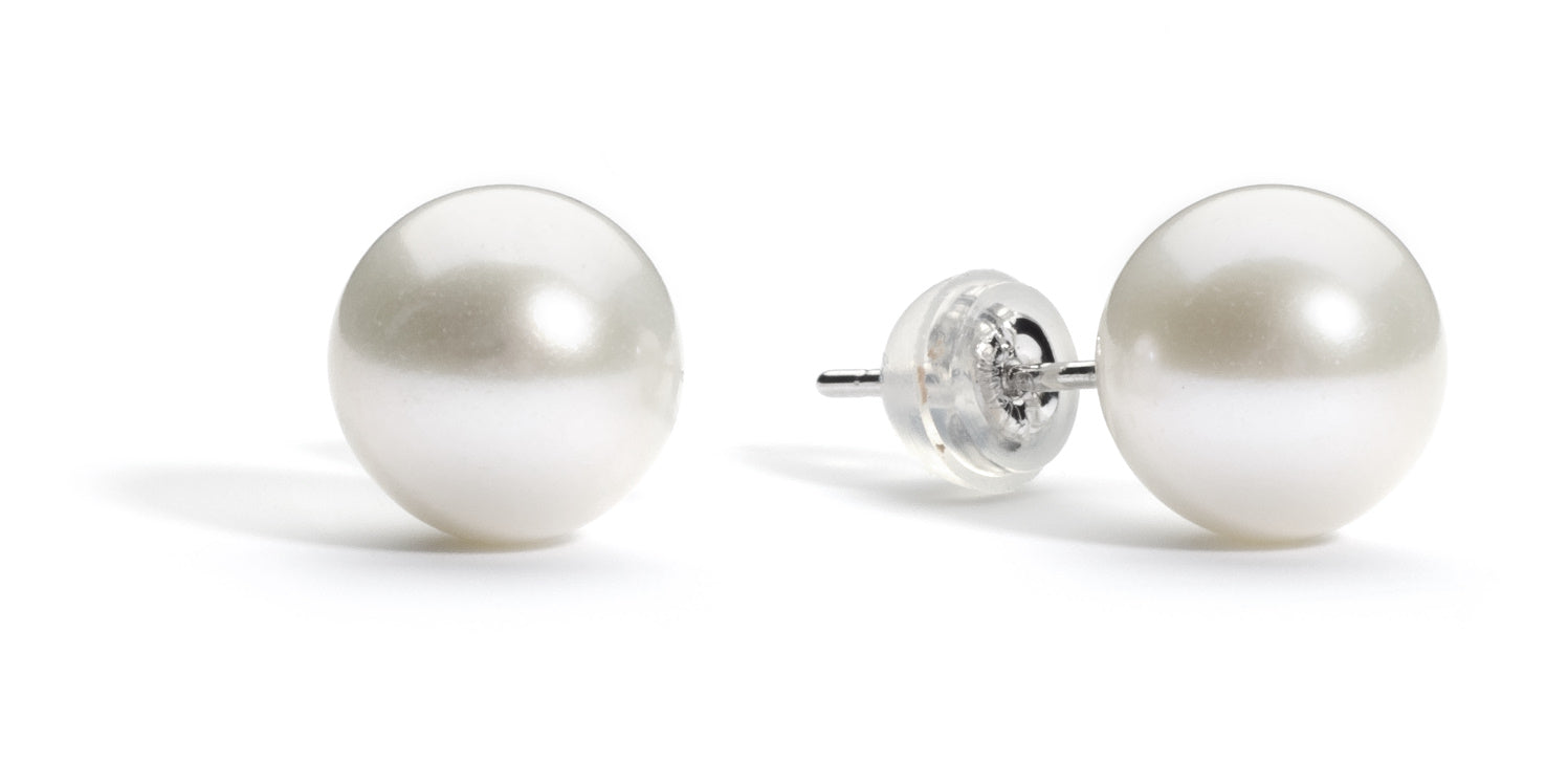 8.0-9.0 mm AAA White Freshwater Pearl Stud Earrings
