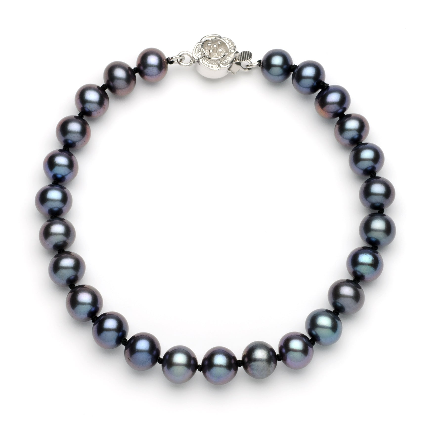 Necklace/Bracelet Set 7.0-8.0 mm Black Freshwater Pearls
