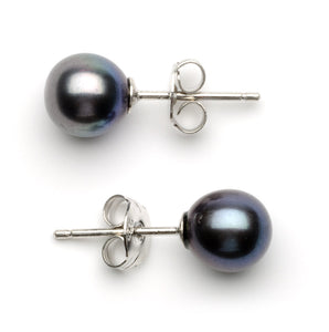 6.0-7.0 mm AA+ Black Freshwater Pearl Stud Earrings