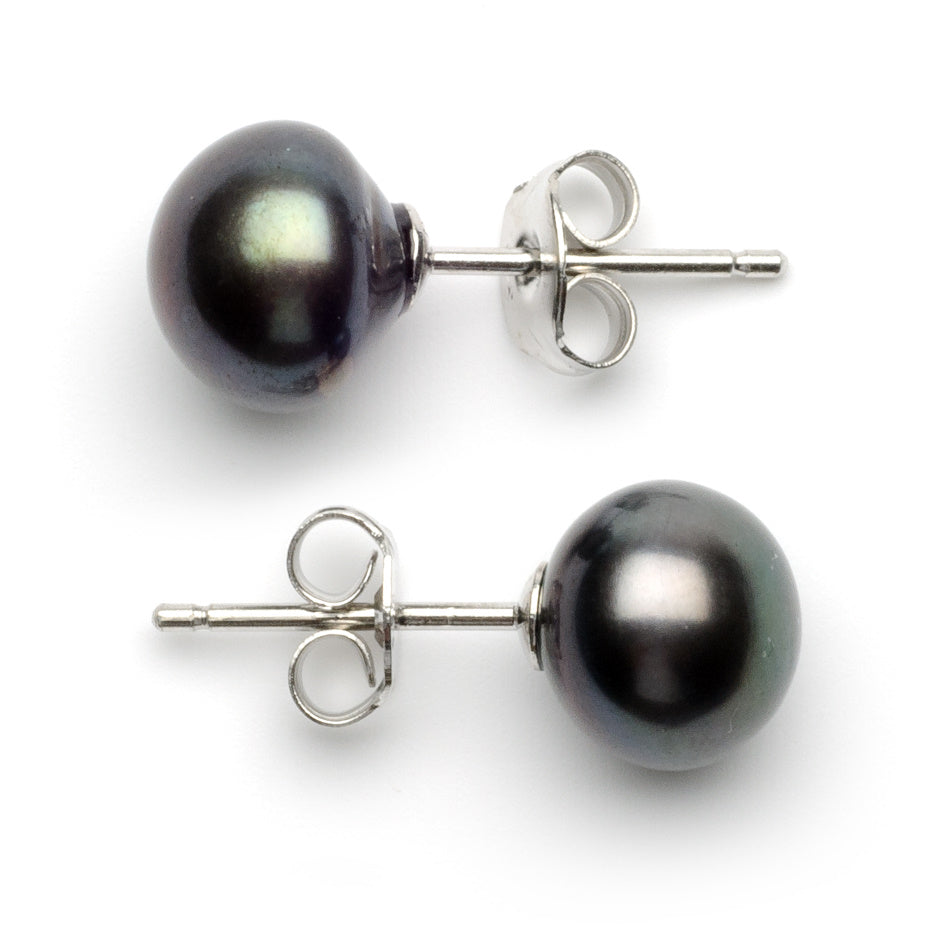 7.0 -8.0 mm AA+ Black Freshwater Pearl Stud Earrings