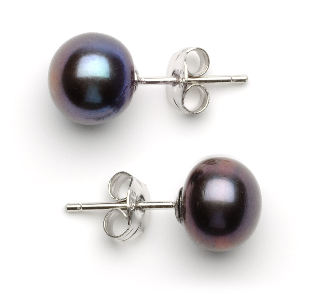 9 mm AA+ Black Freshwater Pearl Stud Earrings