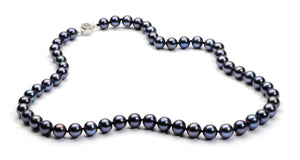8.0-9.0 mm Black Freshwater Pearl Necklace