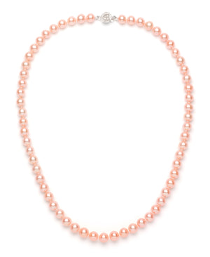 Necklace/Earrings Set 7.0-8.0 mm Pink Freshwater Pearls