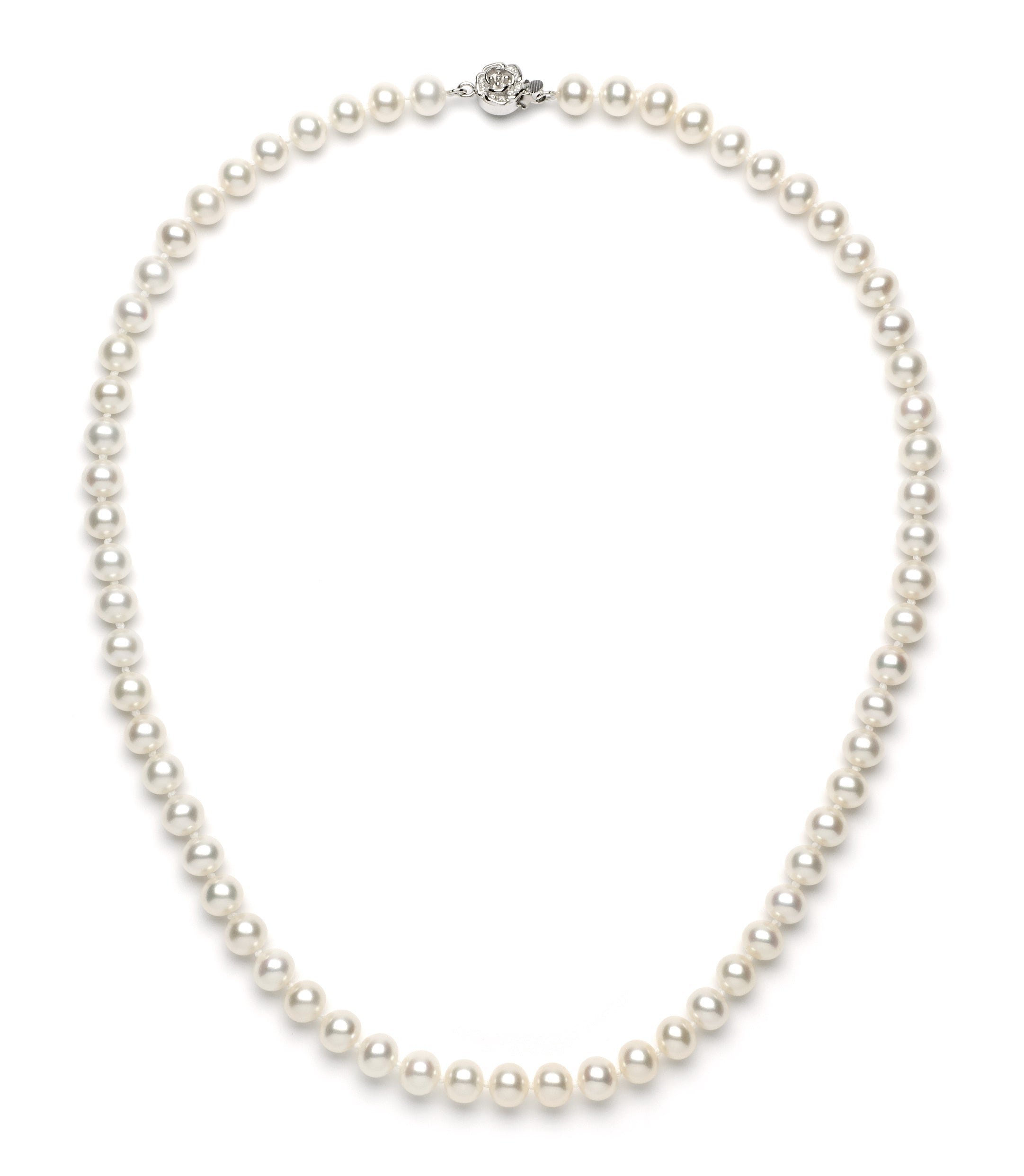 Necklace/Earrings Set 6.0-7.0 mm White Freshwater Pearls