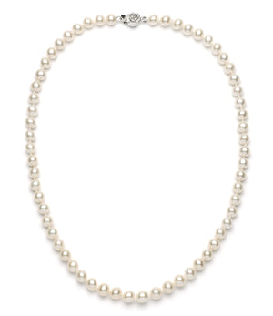 Necklace/Earrings Set 7.0-8.0 mm White Freshwater Pearls