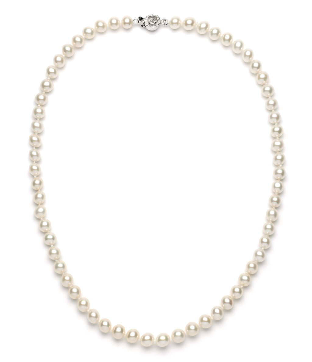 7.0-8.0 mm White Freshwater Pearl Necklace
