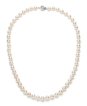 Necklace/Earrings Set 8.0-9.0 mm White Freshwater Pearls
