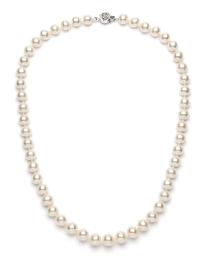 Necklace/Earrings Set 9 mm White Freshwater Pearls