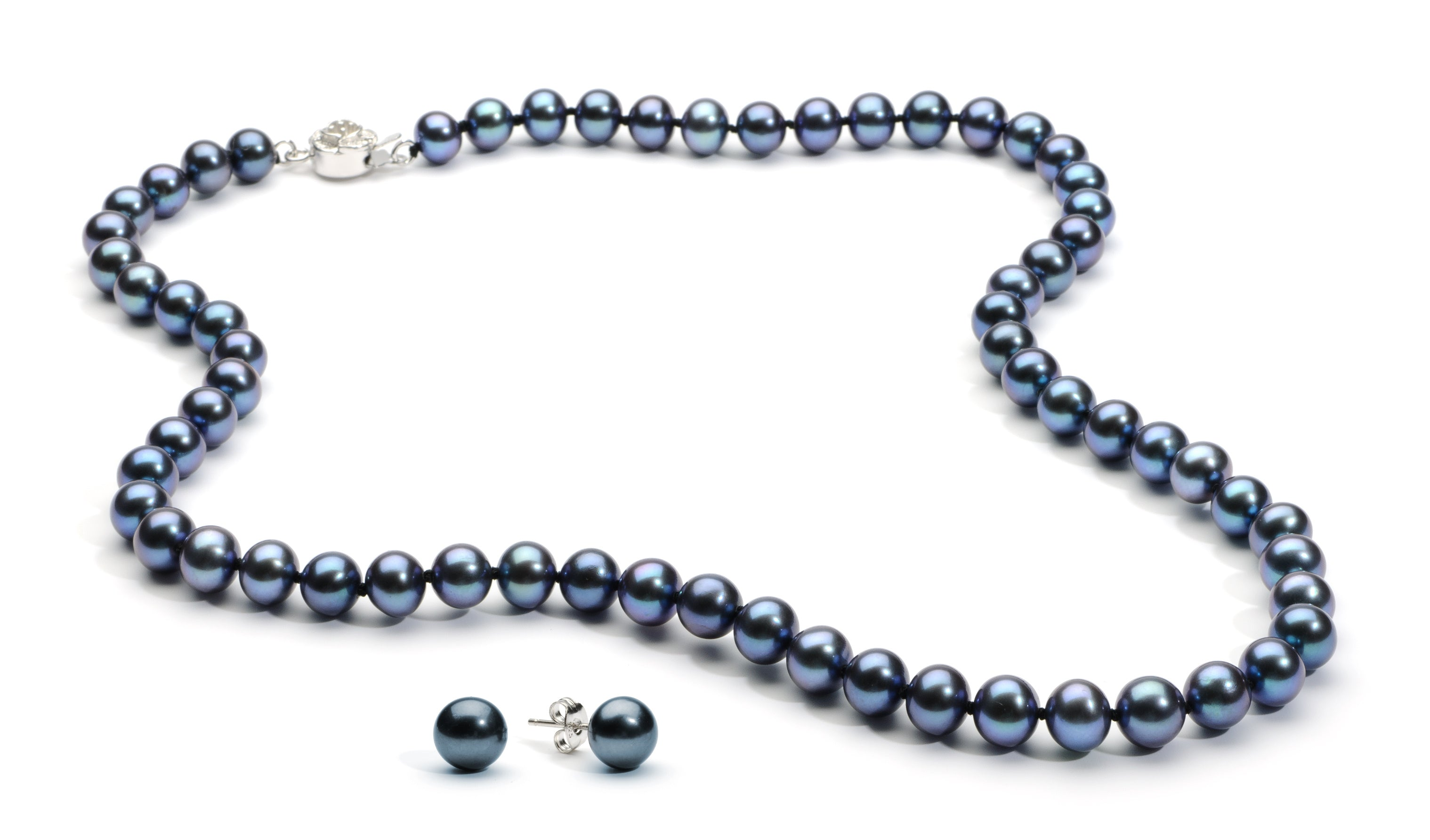 Necklace/Earrings Set 7.0-8.0 mm Black Freshwater Pearls