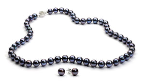 Necklace/Earrings Set 8.0-9.0 mm Black Freshwater Pearls