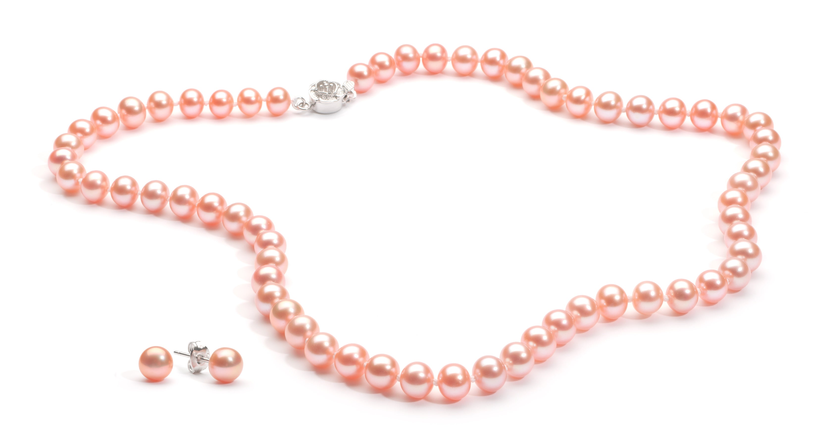 Necklace/Earrings Set 6.0-7.0 mm Pink Freshwater Pearls