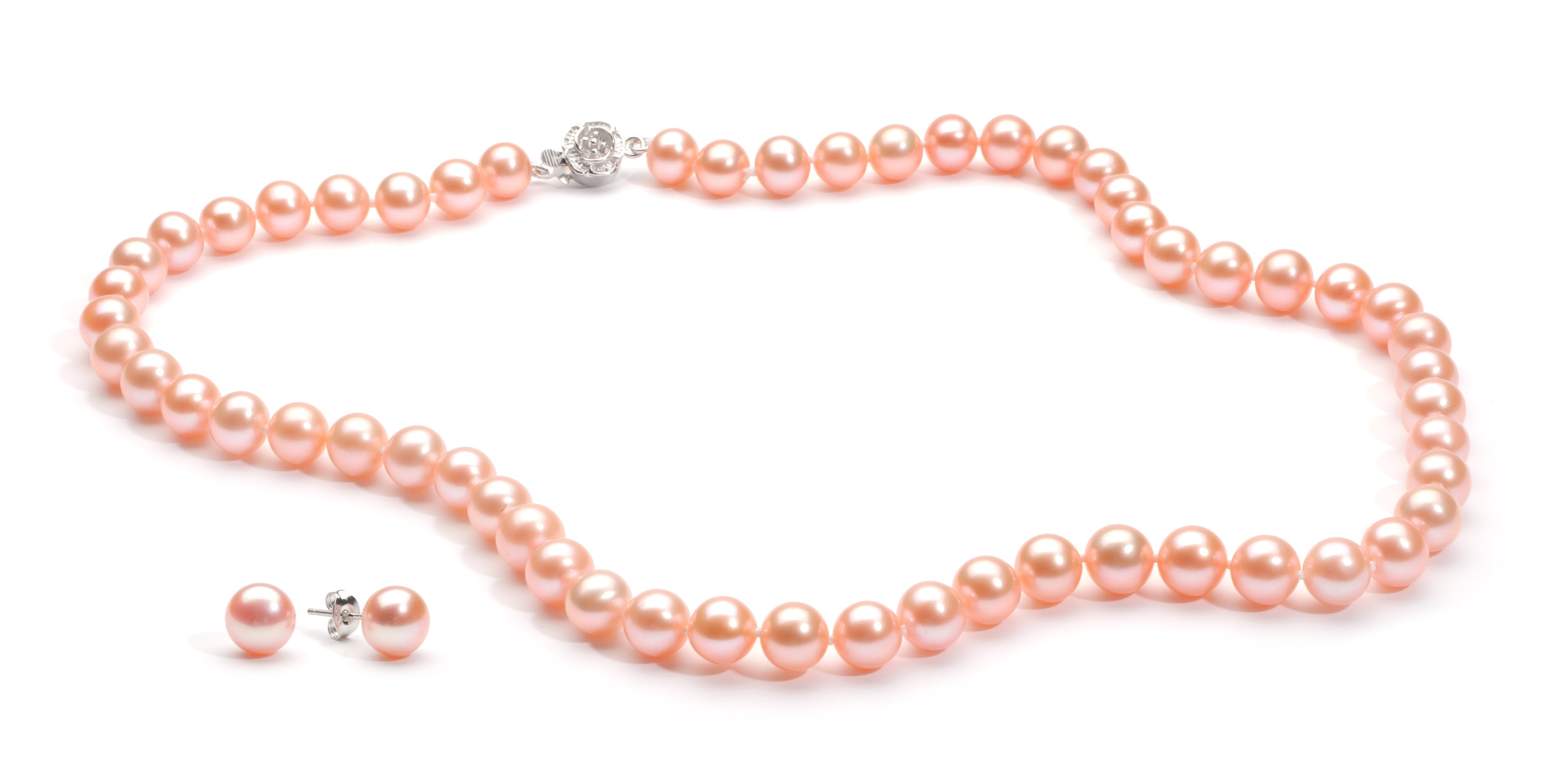 Necklace/Earrings Set 8.0-9.0 mm Pink Freshwater Pearls