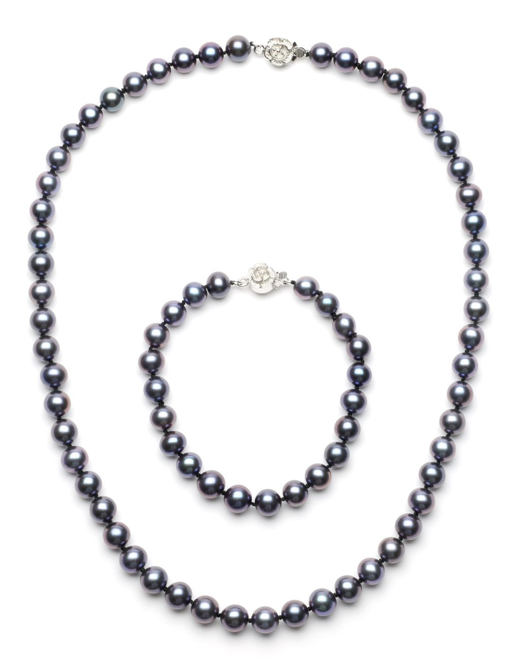 Necklace/Bracelet Set 8.0-9.0 mm Black Freshwater Pearls