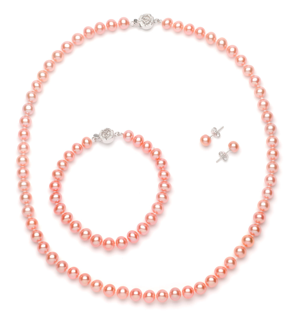 Full Set of 6.0-7.0 mm Pink Freshwater Pearls
