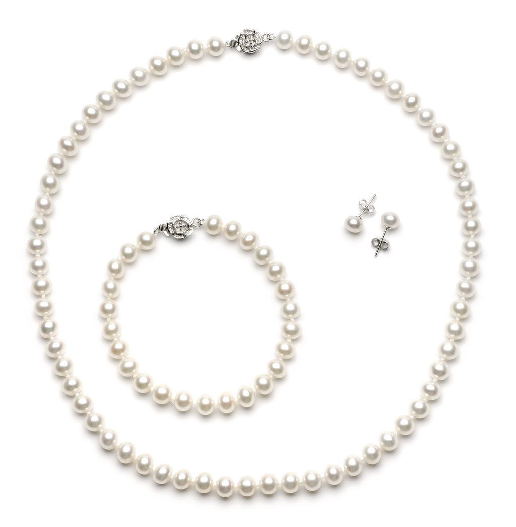 Full Set of 6.0-7.0 mm White Freshwater Pearls