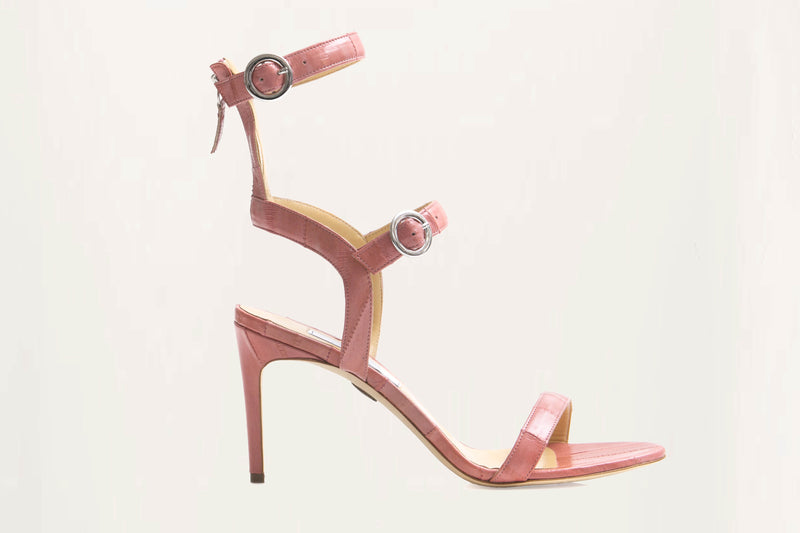 half gladiator leather sandal pink
