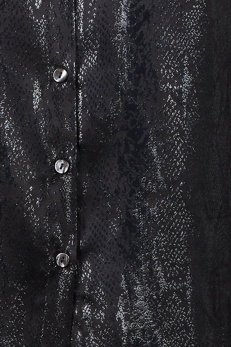 silk blend jacquard shirt with black python pattern