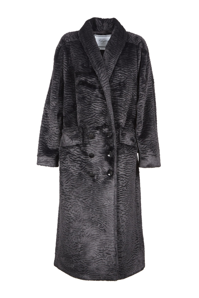 faux persian fur long double-breasted coat