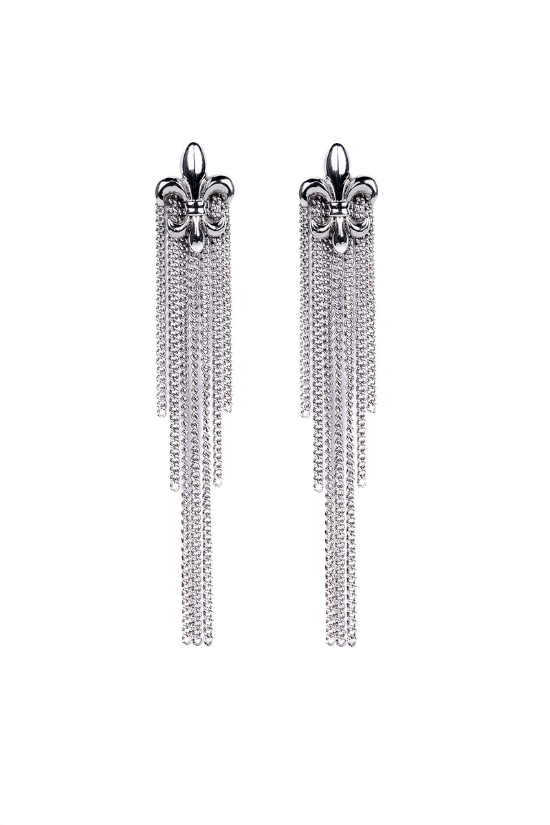 fleur-de-lis metallic chain earrings