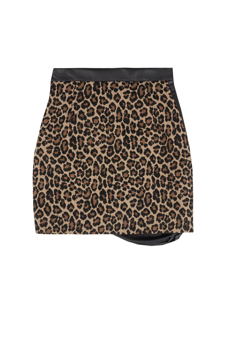 vegan leather and leopard jacquard draped skirt