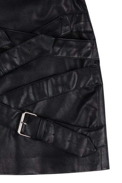 vegan leather skirt with buckles