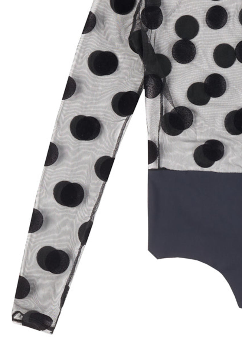 bodysuit with velvet polka dots