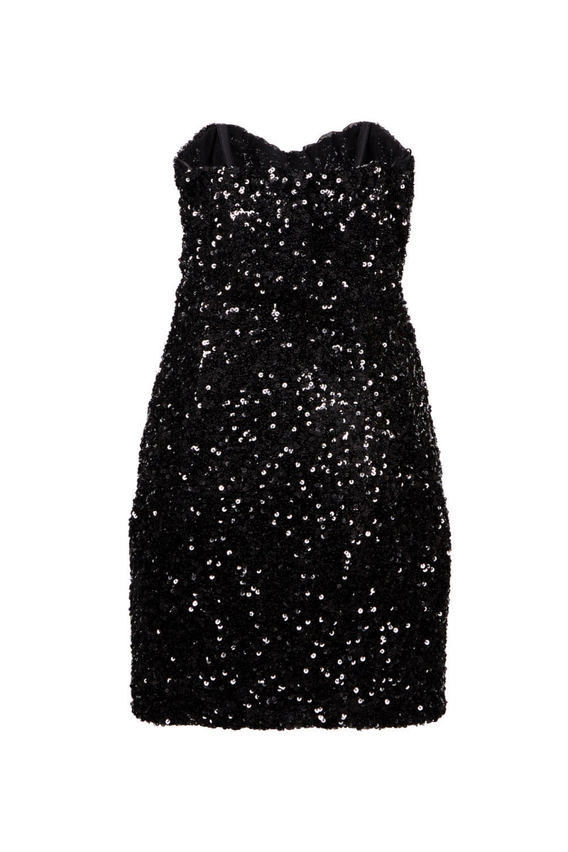 redemption bustier dress in black sequins