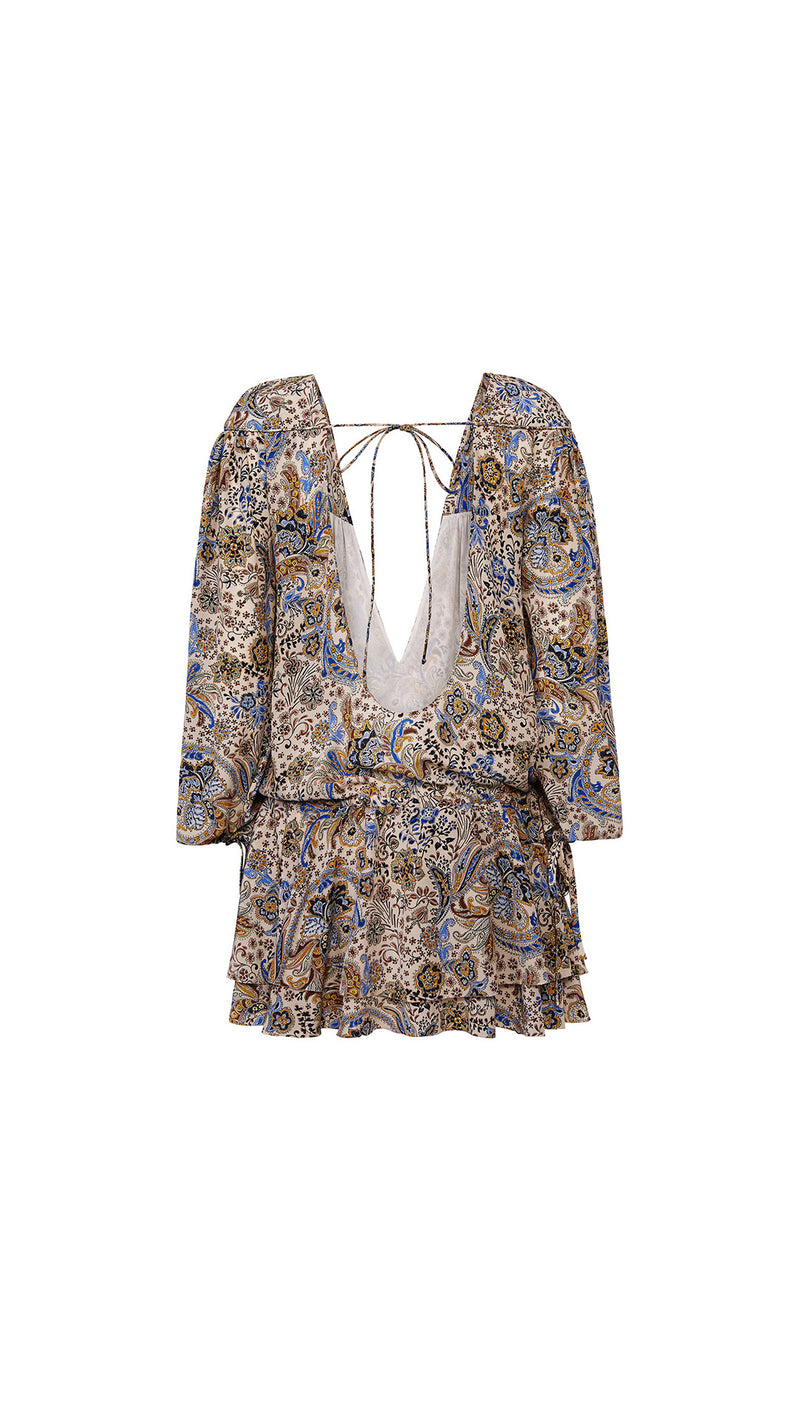 floral paisley print silk dress