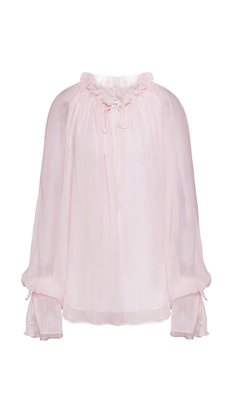 ruched rose silk blouse
