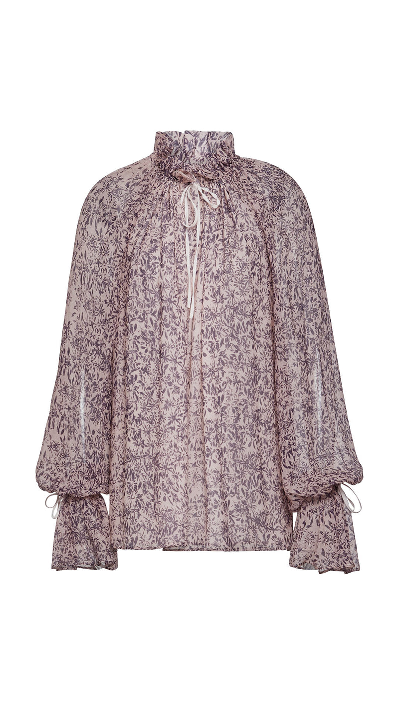 ruched liberty-print silk blouse