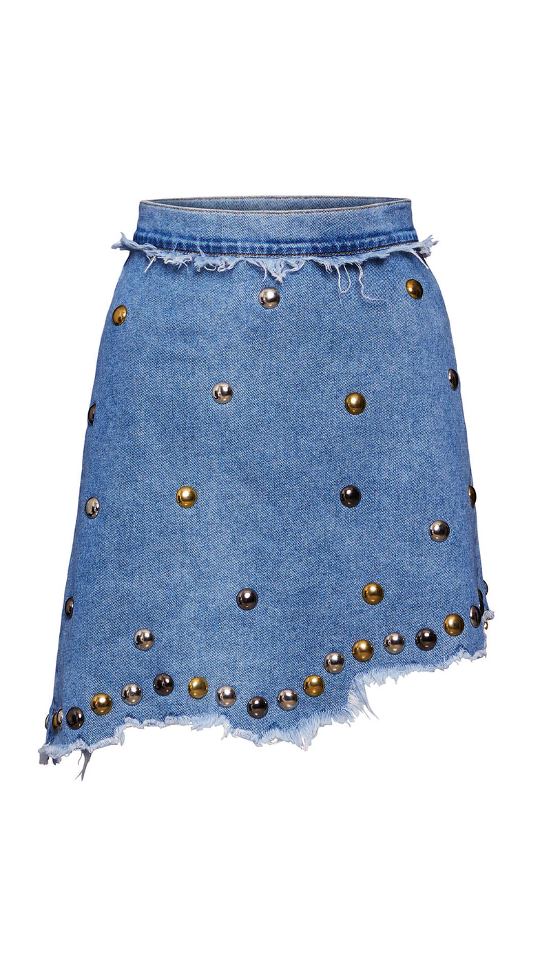 denim skirt with studs