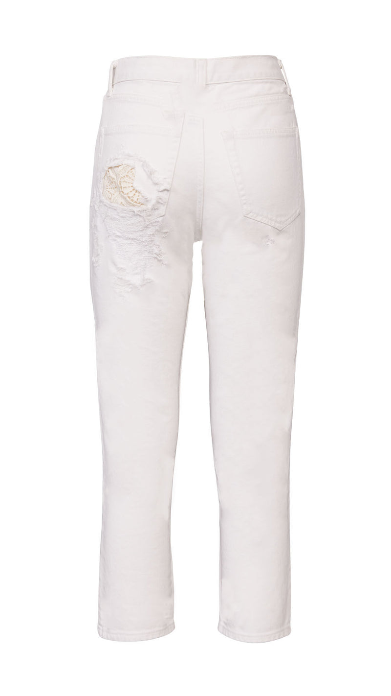 cropped white denim pants