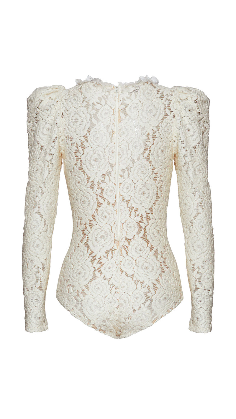 rose macramé lace bodysuit