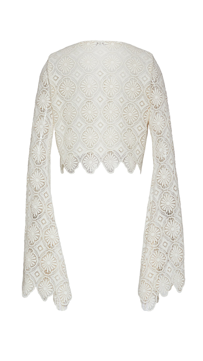cropped macramé lace top