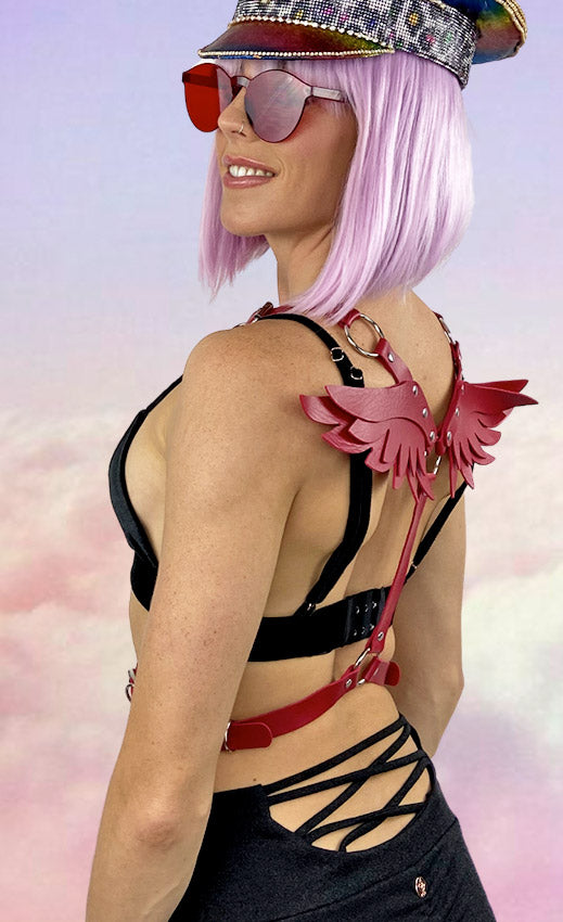 Wings Festival Harness in Red Leather Look