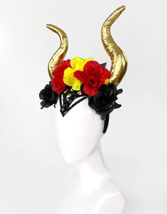 Covet Me Horns in Spanish Inquisition- Festival Fashion and Accessories Peach Pops